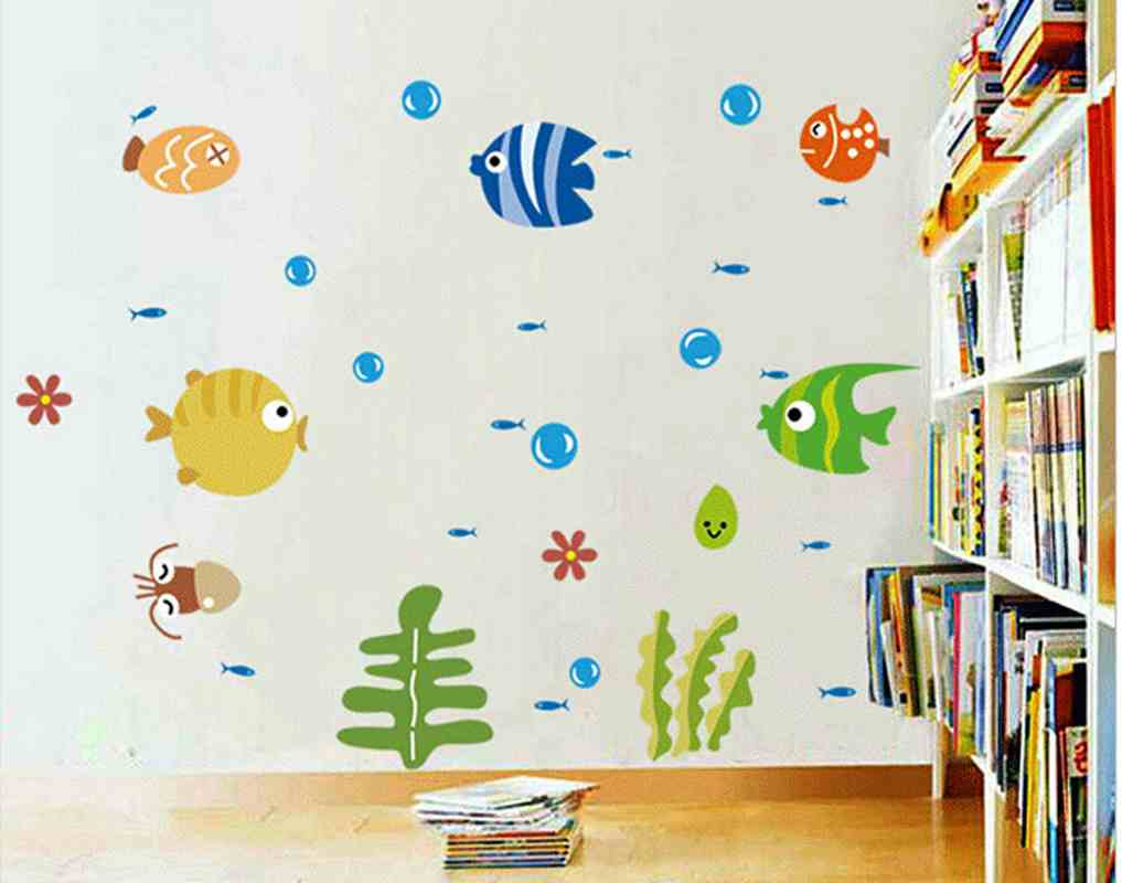 Buy new arrival bubble fish wall stickers for Mural glass painting