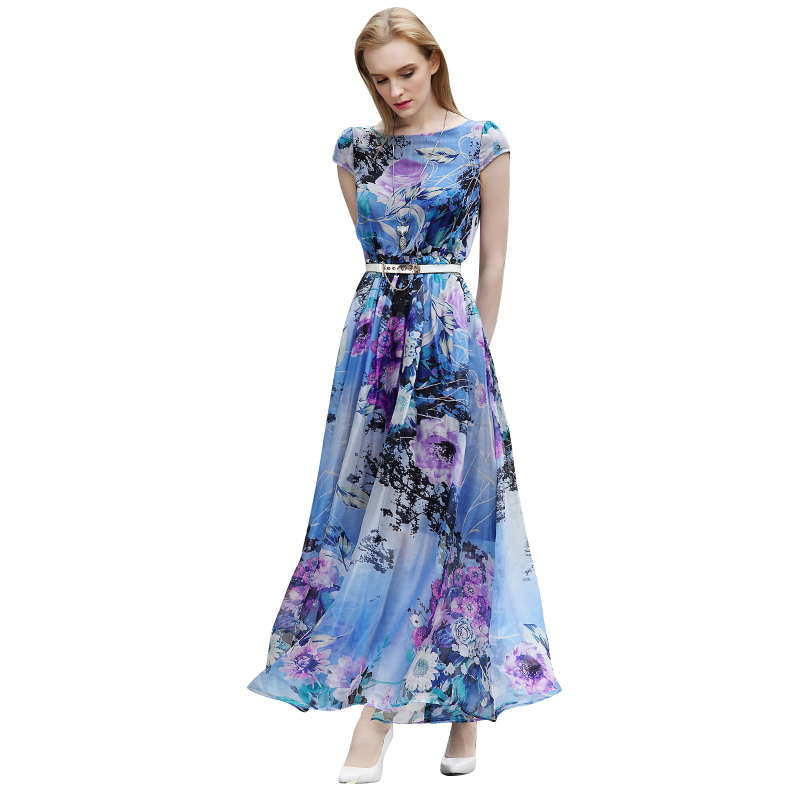 Vintage S - XXXL Plus Size Women Silk Dress Flower Print Maxi Summer Dresses Stretchy Slim Waist Robe Longue Femme Beach Wear(China (Mainland))