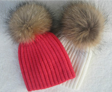5months to 5years Baby Pom Pom Beanie Warm Knitted Bobble Kids Fur Pompom Hat Children Real Raccoon Fur Pompon Winter Hat Cap(China (Mainland))
