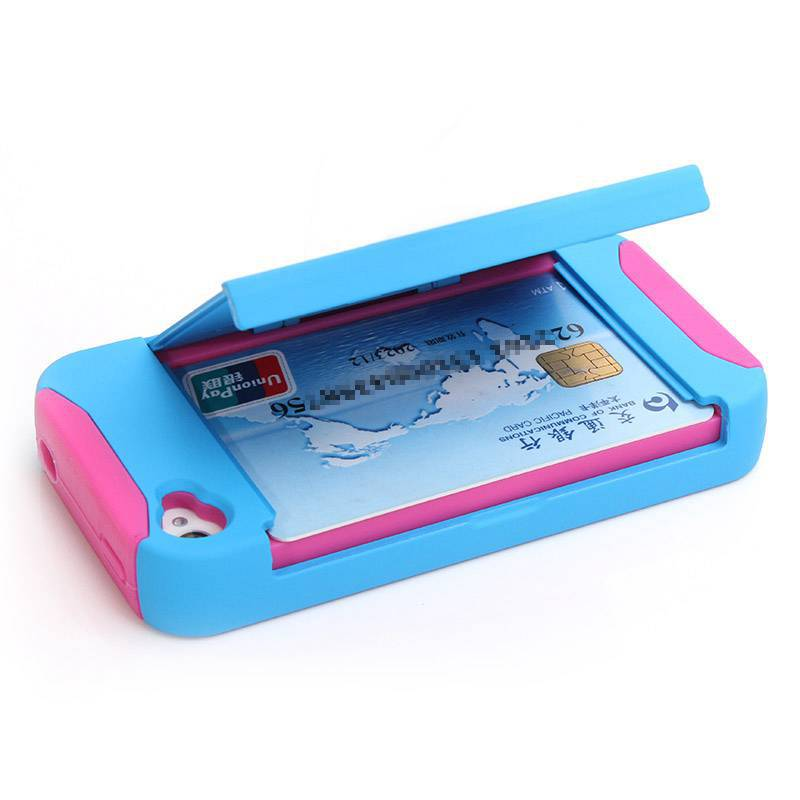Fashion Plastic + Silicone Kickstand Credit Card Case Cover for iPhone 4 4S Mobile phone Bag 10 Colors(China (Mainland))