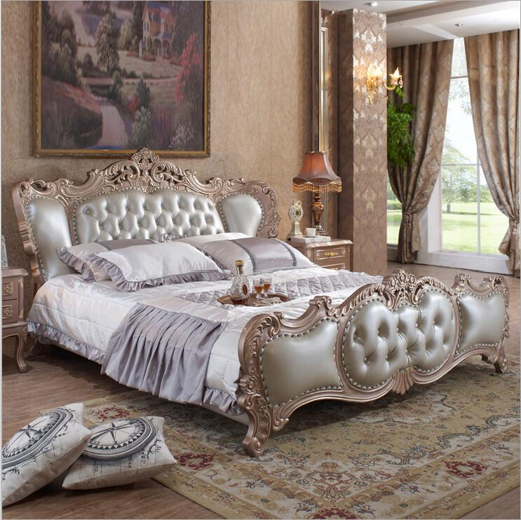 modern european solid wood bed Fashion Carved genuine leather french bedroom furniture 10320(China (Mainland))