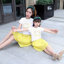 Mother and daughter dresses family macthing clothes family look t-shirt mon and girl dress baby girl clothing casual summer suit(China)
