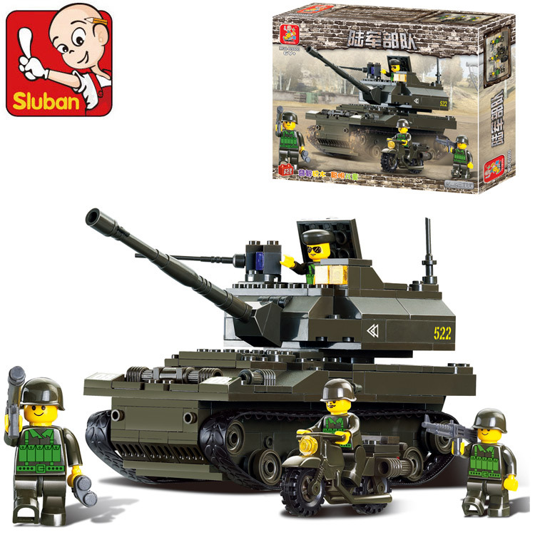 SLUBAN world of tanks M1 Abrams Building Blocks Sluban 215 pcs DIY scale models Block Army toy for boy Educational Bricks Toys(China (Mainland))