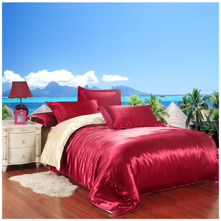 Two sides silk bedding set satin silk bed clothes silk comforter bedsheet pillowcase wine red and beige bed set 4pcs satin 5031(China (Mainland))