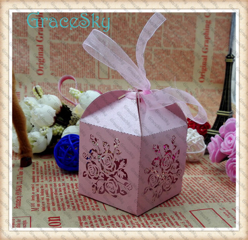 100PCS Hot Sale Elegant Hollow Paper Rose Flower Lace Candy Gift Favor Boxes,Chocolate Box Of Wedding Parting Decorations(China (Mainland))