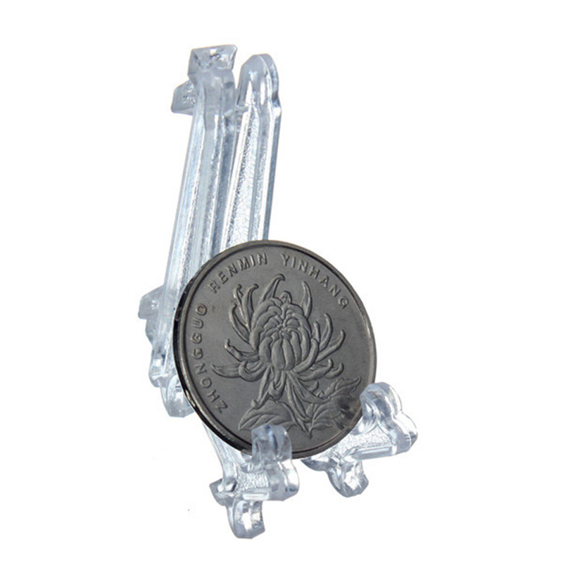 5pcs/lot Collectibles Mini Clear Plastice Coin Medal Gem Badge Golf Post Card Easels Coin Display Stand Display Plate Holders(China (Mainland))