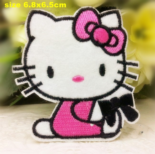 6.8*6.5CM 10pcs/lot cute kitty Embroidered patches iron on cartoon Motif Applique embroidery accessory PT0718(China (Mainland))