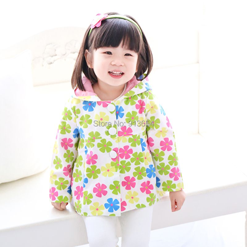 2016 spring autumn kids jackets children clothing baby Hooded jacket fashion girls cute printing flowers coat - Sunny Baby Store store