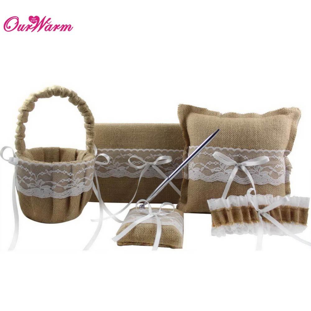 5Pc/set Burlap Lace Hessian Wedding Ring Pillow and Flower Basket Wedding Guest Book and Pen Set Garter Belt Wedding Accessories(China (Mainland))