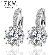 Fashion Alloy Silver-Plated 10 Color Geometry Crystal Earring Simple Jewelry Design Round Zirconia Earrings Statement  For Women(China (Mainland))