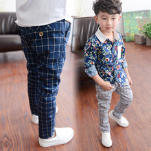 4-14Y New spring big boy pants boy plaid cotton boy pants tide Korean version designer striped trousers 10 12 14 years 1062G(China (Mainland))