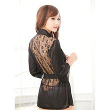 1pcs Hot Sexy Lingerie hot S-XL Satin Lace Black Kimono Intimate Sleepwear Robe Sexy Night Gown sex products