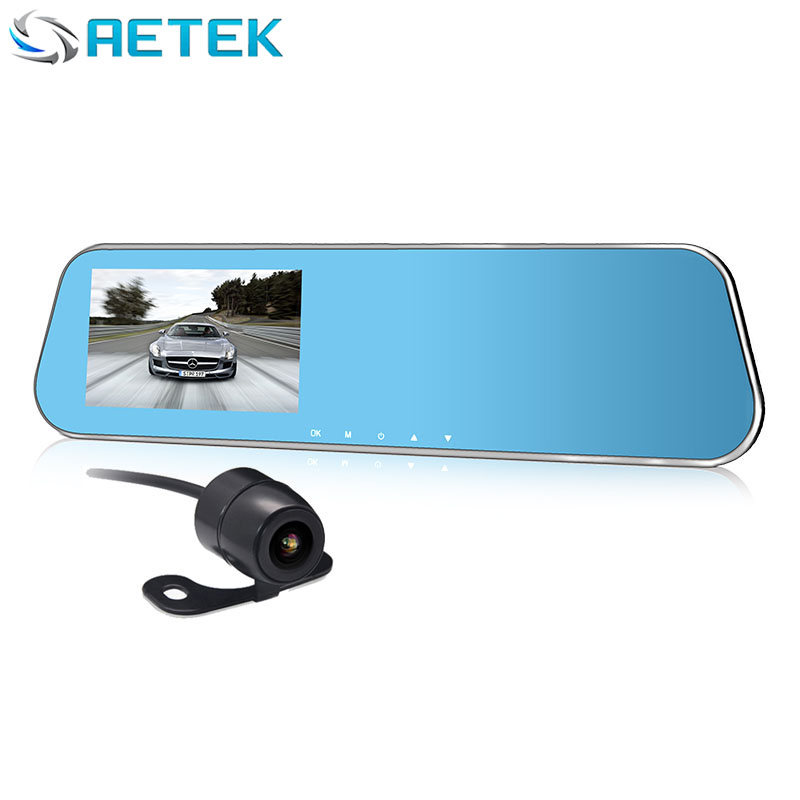 With 32G TF Card Rear View Mirror DVR 2 Cameras & 4.3 LCD Display 1080p Car Camera Camcorder Vehicle Blackbox with Rear Camera(China (Mainland))