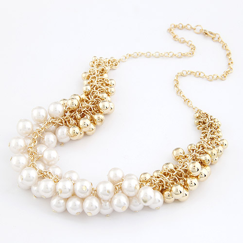 Fashion new sphere pearl necklace female short design gentle women necklaces accessories trendy round gold white multicolour - ABC Mall store