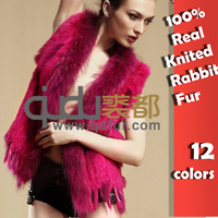 Lady Genuine Knitted Rabbit Fur Vest with tassels Raccoon Fur Trimming Winter Women Fur  Waistcoat  Gilet Colete Pele 001