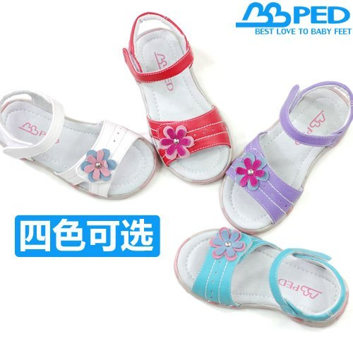 Sheep female two-color small flower open toe baby shoes outdoor shoes bbped