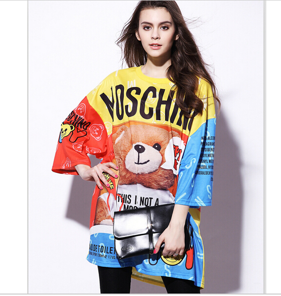 2015 women spring summer fashion beautiful cartoon elegant tops shirt printing wide street designer cause(China (Mainland))