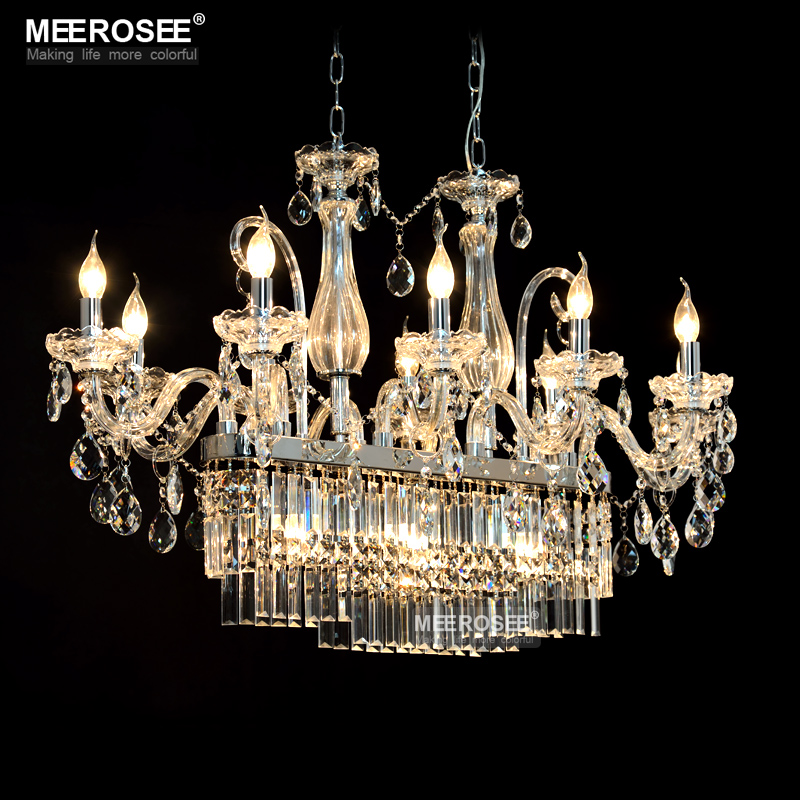 Buy gorgeous rectangle crystal chandelier light fixture 13 lights glass - Glass chandeliers for dining room ...