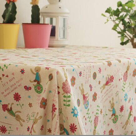 Newest HOT European High grade cartoon design linen tablecloth easy clean check table cloth on sale(China (Mainland))