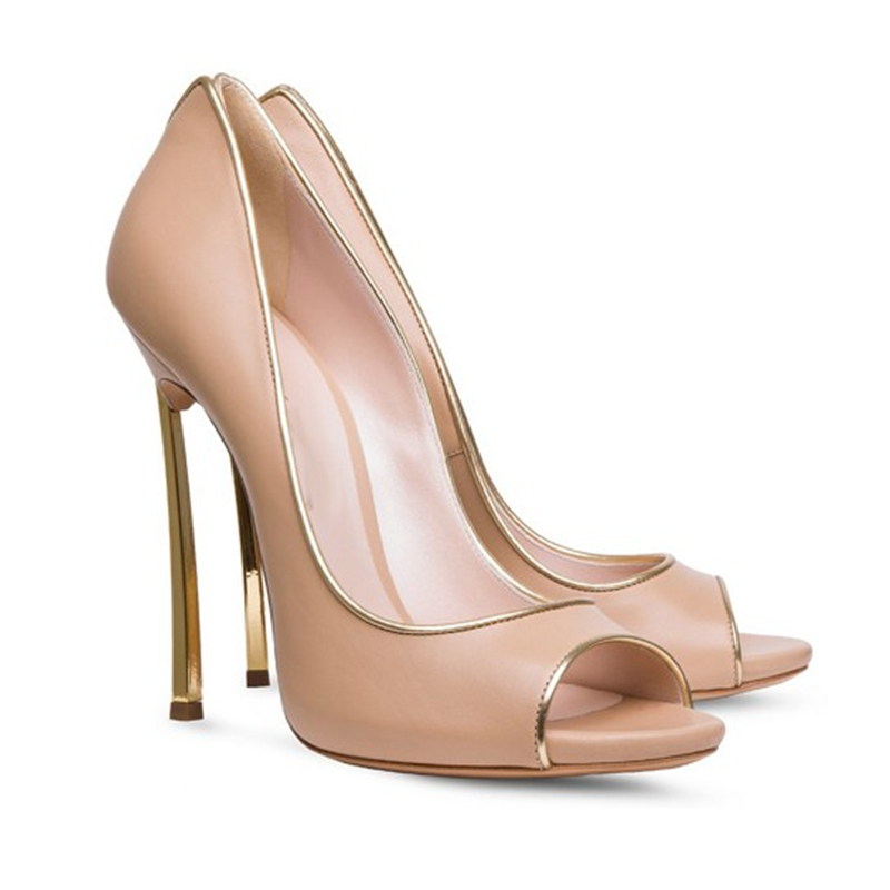 2016 New Fashion Spring PSolid Leather Open Toe Party Shoes Woman Metal Thin High Heels Ladies Shoes Women Sandals Zapatos Mujer