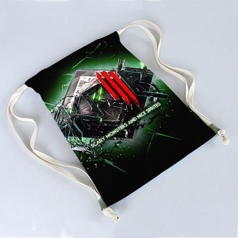 Nueva DIY profesionales impresión Skrillex cuadro por encargo del bolso de lazo del bolso del recorrido mochilas para adolescentes 30 x 40 CM dos lados(China (Mainland))