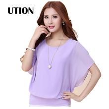 2016 women Summer Chiffon Blouse Plus Size Ruffle Batwing Short Sleeve Casual shirt Womens Tops Fashion  TP0004