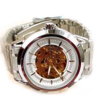mens watch male mechanical watch cutout black-and-white 2 male watch stainless steel watchband