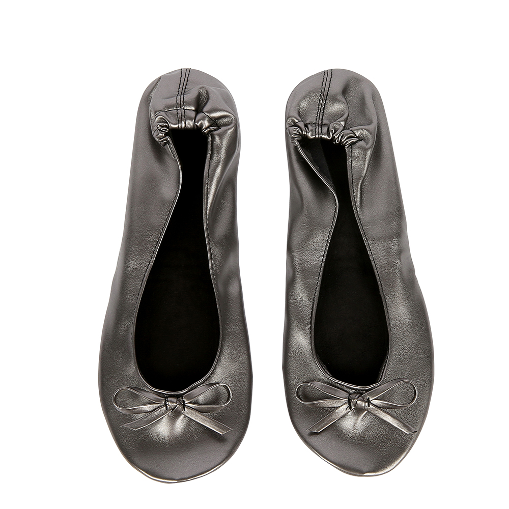 Pewter Shoe Flats Portable Fold Up Ballerina Flat Shoes Roll Up Foldable Ballet after Party Shoe For Bridal Wedding Party Favor(China (Mainland))