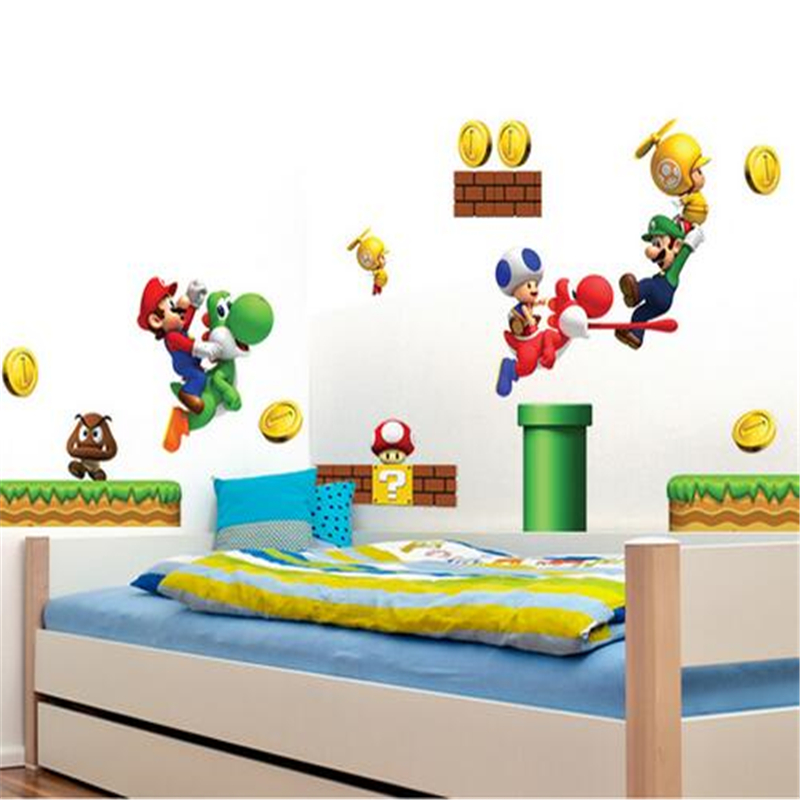 Saturday monopoly new pvc super mario bros wall sticker for Baby rooms decoration games