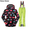 Gsou Snow winter ski suit women female skiwear snowboard jackets and pants skiing clothing snowsuits set