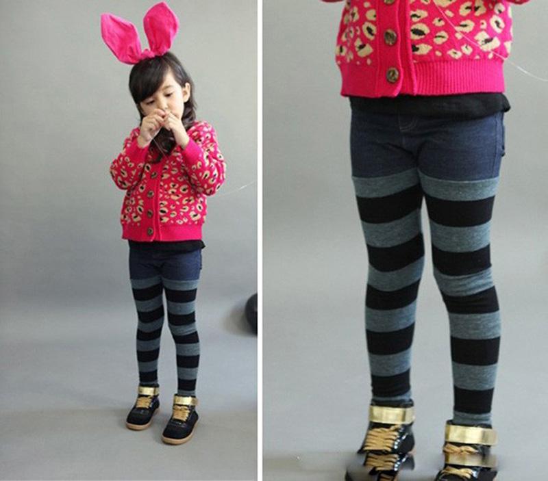 Girl pants Spring paragraph fashion blue Stripe mosaic Denim Leggings girls wear long pants new designer hot kids pants pantalon(China (Mainland))