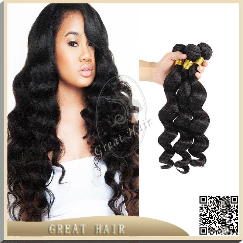 6A brazilian virgin hair 3 Pcs/lot unprocessed brazilian loose wave human hair natural black brazilian weave bundles 8-32 inch()