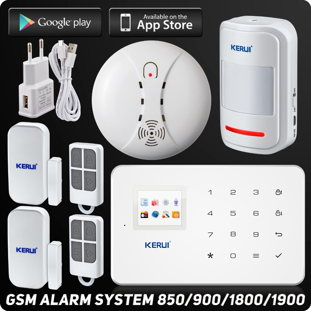 kerui g18 wireless phone app gsm alarm system tft color display home security alarm system. Black Bedroom Furniture Sets. Home Design Ideas