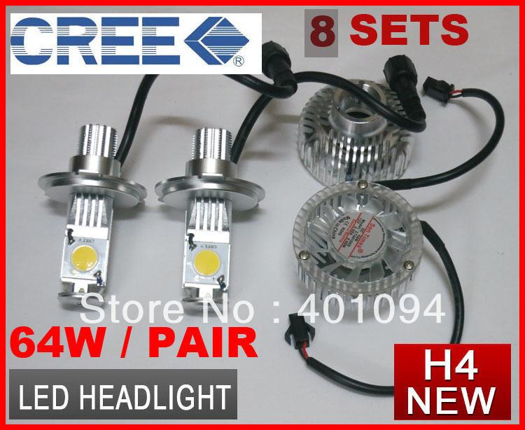 8 Sets H4 H/L High/Low 64W CREE LED Headlight 2-COB Xenon White 5500K 2000LM Car Truck Universal 12V/24V H7 H8 H11 9005 9006 Mix(China (Mainland))
