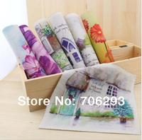 Hand dyed 7 Assorted  Cotton Linen Printed Quilt Fabric For DIY Sewing Patchwork Home Textile Decor 19x20cm beautiful scenery