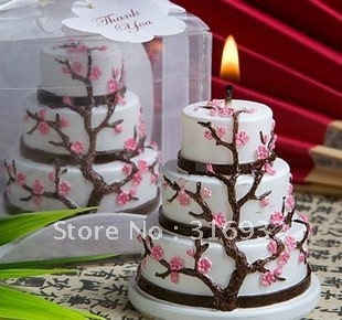 M2 Birthday Wedding Party Favors:Cherry Blossom Design Cake Candles