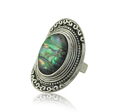 1pc vintage silver plated palace carving natural shell horse eye finger joint ring jewelry Bohemia retro rings for womens anel(China (Mainland))
