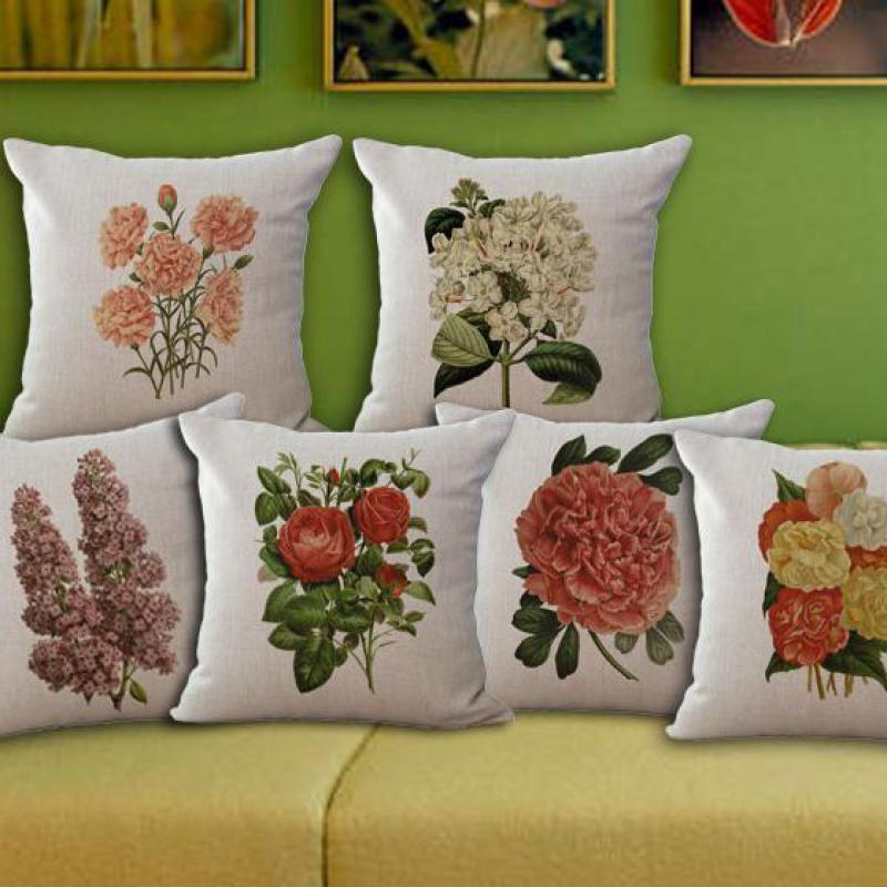 European Flowers Cotton Linen Cushion Pillow Cute Pillow Seat Cushion Home/chair/bed/car Christmas Gifts