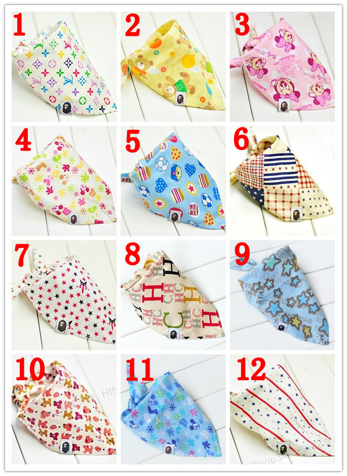 10pcs/lot 2014 Unique Design Triangle Baby bibs Very Cute Multifunction bandana Head Scarf Saliva Towels Very Soft For Children(China (Mainland))