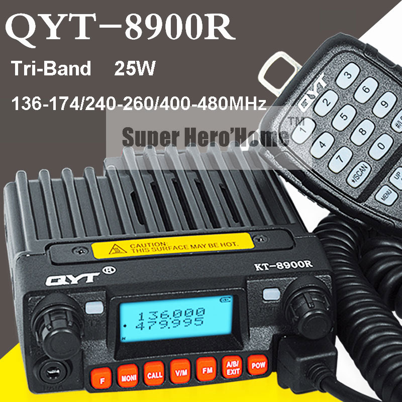 Mini Mobile Radio Transceiver QYT KT-8900R Tri-band 136-174/240-260/400-480MHz Upgraded KT-8900 Car Two Way Radio Station 10KM(China (Mainland))