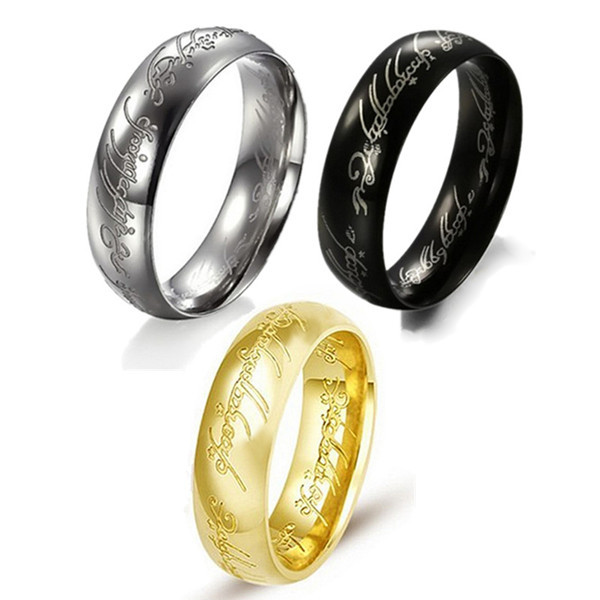 """One Ring to Rule Them All"" Dark Lord of The Ring Men Women Fashion Silver/Gold/Black Stainless Steel Ring Size 6-15(China (Mainland))"