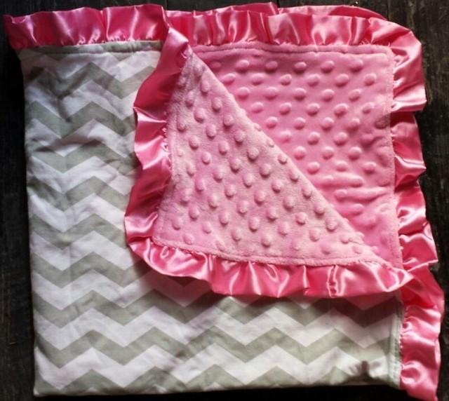 gray/pink chevron baby minky blanket  zigzag minky blanket baby blanket  Hurry!not many left!