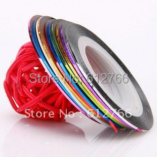Assorted Colours Rolls Striping Tape Metallic yarn Line Nail Art Decoration Sticker