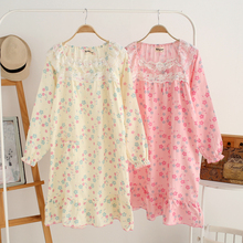 Japanese Princess Nightgown Summer Robe Cotton Long-sleeved Gauze Thin Outer Wear Flower Patterned (China (Mainland))