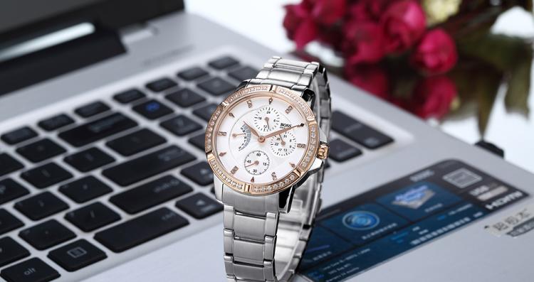БОСС Германии часы женщины люксовый бренд алмазов из нержавеющей стали многофункциональные часы водонепроницаемые мода золотой relogio feminino