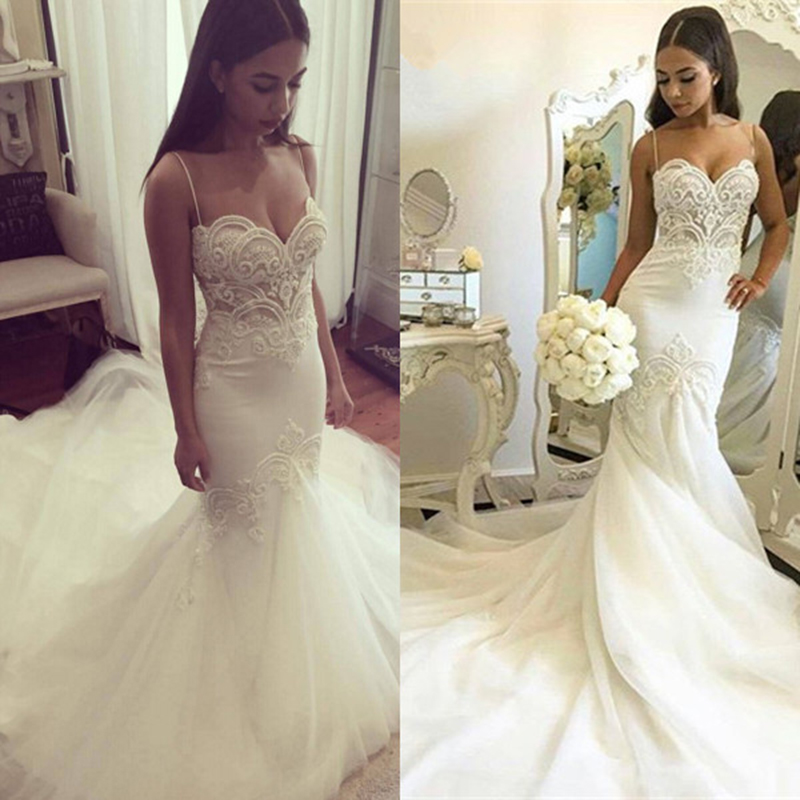 sexy mermaid wedding dress 2016 white tulle beaded lace pearls women