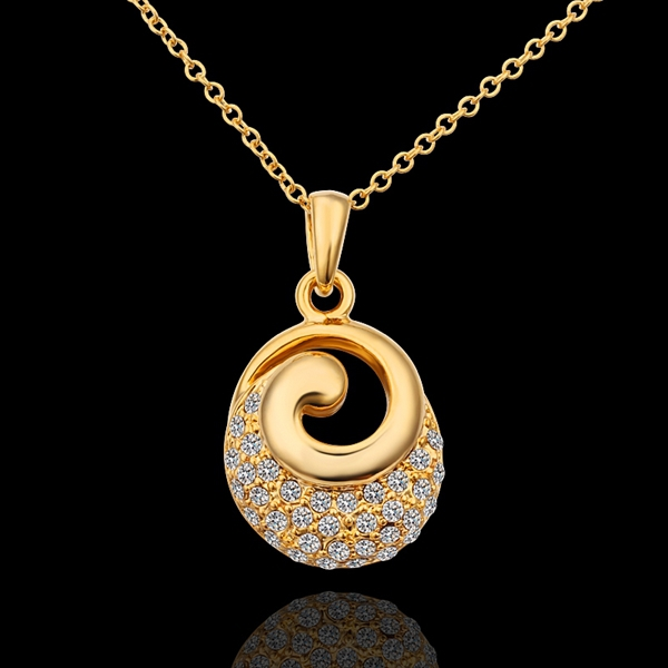 18K Yellow Gold plated fashion jewelry Austria Crystal,rhinestone,CZ diamond,Nickle Free pendant necklace KN609 - fei shao's store