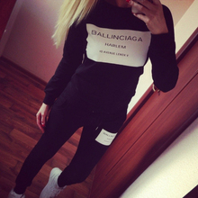 Woman Clothes sets 2015 Ballinciaga Tracksuits 2 Piece Set Women Sport Suit Hoodies Jogging Free Shipping(China (Mainland))