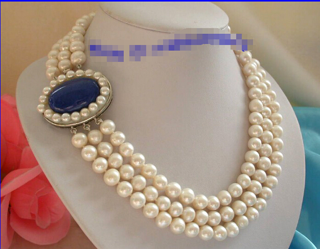 shipping stunning 3rows 10mm round white freshwater pearls necklace g765<br><br>Aliexpress