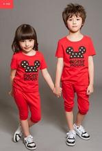 Лето стиль девочки-младенцы мальчики микки одежда комплект футболки + шорты комикс спорт костюмы дети дети одежда